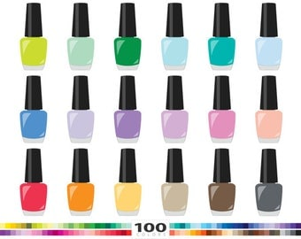 Nail polish clip art etsy nail polish clipart 100 rainbow colors cosmetics varnish makeup vector eps png illustration planner stickers clip prinsesfo Gallery