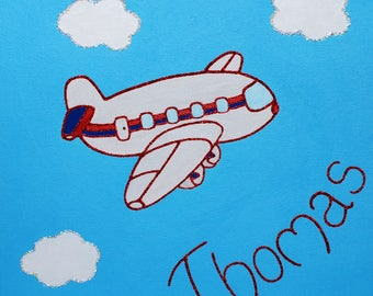 Jumbo Jet Handpainted Canvas finished with glitter detail