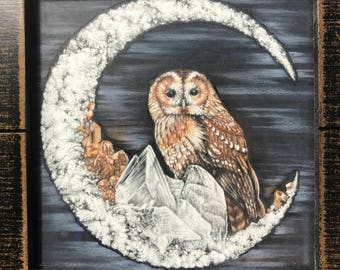 Owl on a gypsum and garnet moon drawing in wood frame
