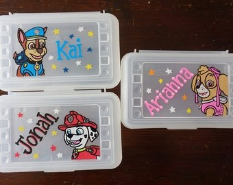 Paw Patrol Personalized Pencil Box, hand painted, school supplies storage, kids party favor, paw patrol party favors, art supplies storage