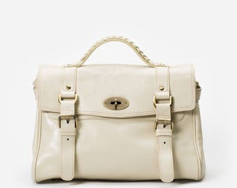 Minimalistic Classic Top Handle Bag with Removable Shoulder Strap in Premium Leather - By Mayer