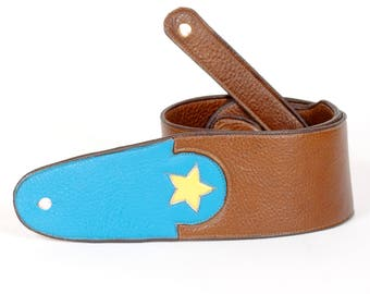 Handmade Ergonomic Guitar Strap in Brown and Turquoise