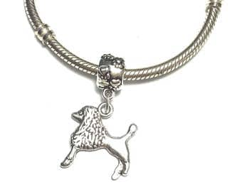 Poodle Charm for Bracelet - Silver Poodle Charm - Cute Poodle Charm - Dog Charm - Fits all Charm Bracelets - Poodle Lover Gift