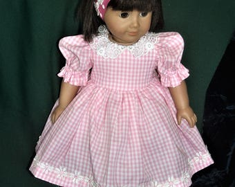 Pink gingham check cotton dress for 18 inch doll