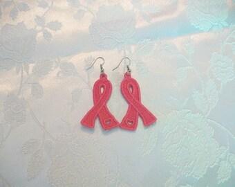 earrings-pink earrings-breast cancer awareness pink ribbon earrings-embroidery earrings-pretty earrings