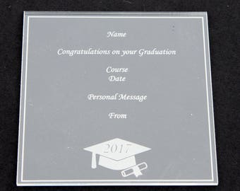 Clear Acrylic Personalised Graduation Plaque Cap Square Certificate Congratulations Son Daughter Friend School University College