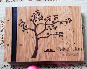 personalised guest book personalised photo book photo album wooden sign book unique hens night party gift unique wedding book wooden bird a5