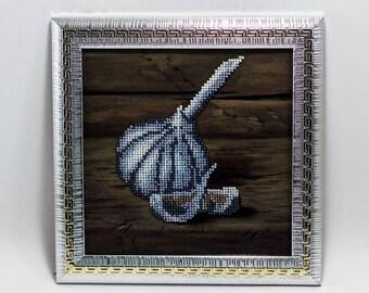 Beaded picture Garlic silver grey hall kitchen decor gift beadwork embroidery bead art interior design decoration