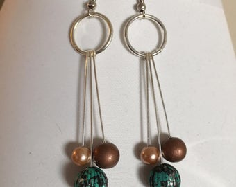 Earrings, dangles with earth tones