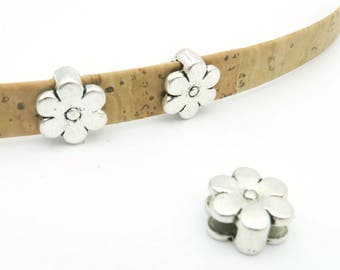 10pcs For 10mm flat leather slider Antique sliver cute flower slider flower charms jewelry finding supplies D-1-10-3