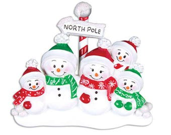 Snowman Family of 5 Unique Personalized Christmas Ornament + FREE SHIPPING!