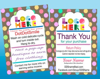 Thank You/Care Card Polka Dot,Customized, Personalized, Printable and Double Sided DotDotSmile