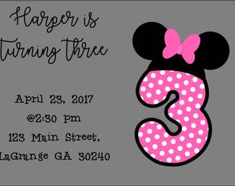 Minnie mouse third birthday invitation