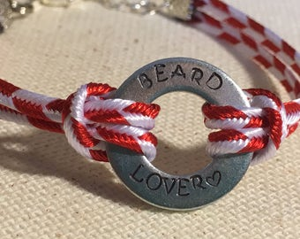 "Metal Hand Stamped Jewelry ""Beard Lover"" Bracelet"