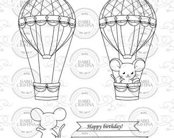 Hot air balloon with mouse - IsabelCristinaStamps