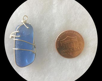 Naturally Worn Beach Glass, wrapped in Fine Silver II