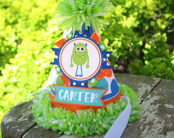 Monster Birthday Party Hat - Little Monster Birthday Hat - Boy Birthday - Monster Birthday Outfit