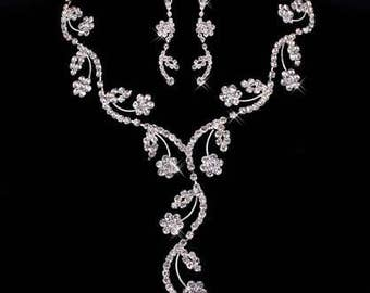 Crystal flower bridal necklace and earrings