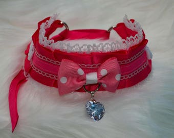 DDLG/Kitten Play Collar // Pink and White Collar with Polka Dot Bow Tie