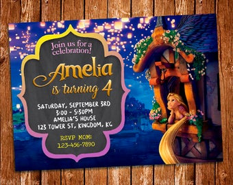 Tangled Invitation, Rapunzel Invitation, Tangled Birthday Invitation, Princess Rapunzel, Rapunzel Invite, Rapunzel Birthday, Rapunzel Prints