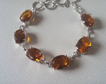 SALE Golden Citrine Gemstones Bracelet, 925 Silver, Free Shipping.