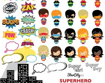 Superhero clipart, Super hero Clip Art, Superhero Graphics, Super clipart, Superhero words, Commercial Use, instant download