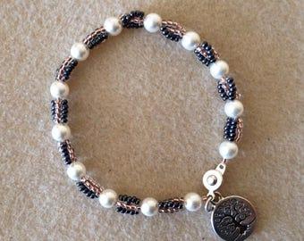 Tree of Life Charm Bracelet with Swarovski Pearls