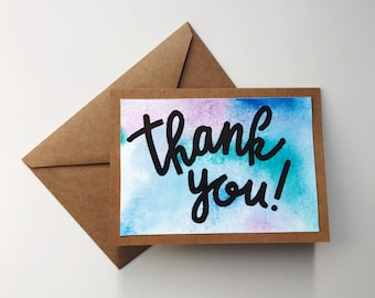 Watercolor Thank You Cards Pack (8)