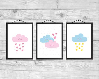 Cute Clouds Printable, Hearts and Stars Print, TWINS Set Print, Pink Blue Print, TWINS Printable Art, TWINS Nursery, Brother and Sister Room