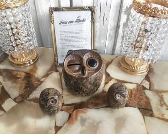 Vintage savings Tin owl OWL / 70s vintage piggy bank
