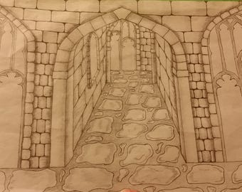 Drawing Medieval Castle
