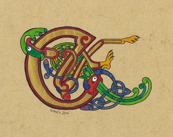 Celtic E drop cap initial from the Book of Kells, original illumination artwork
