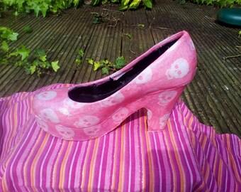 Pretty in Punk glitter skull heels