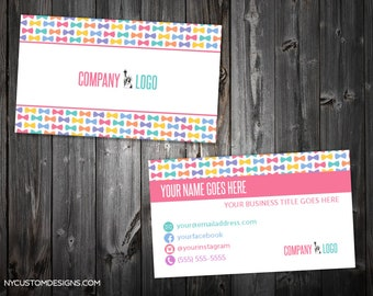 Bowtie Design | Double Sided Business Card | Standard Size 3.5 x 2 | Personalized
