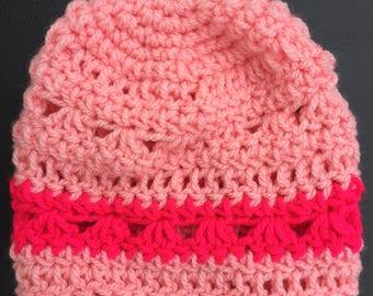 Crocheted baby girl hats