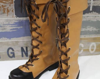 Women's Jockey faux leather brown shoes boots handmade