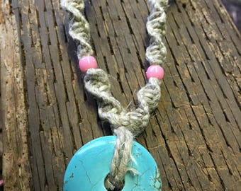 Turquoise Stone Hemp Necklace