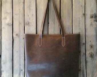 Large Brown Leather Tote. Handmade