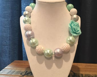 White, silver and pale aqua Chunky Necklace