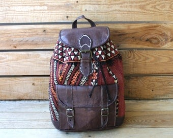 Moroccan leather backpack with Berber carpet