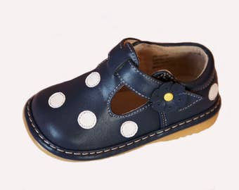 Navy Blue & White Polka Dot Squeaky Shoes