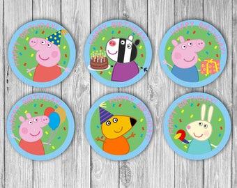 Peppa Pig Cupcake Toppers (Digital)