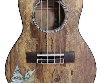 Kaytro - Ukulele 4 String Handmade - Deer and Pine Inlaid - Solidwood Ukulele Concert Spalt Maple UKU2826