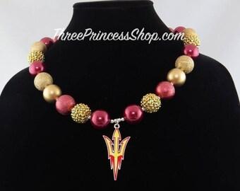 Arizona State Sun Devils Bubblegum Bead Necklace with Pendant