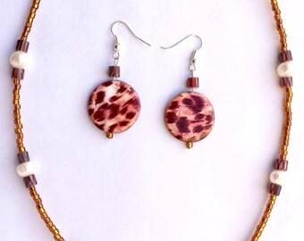 Jungle Cat necklace/earring set
