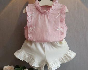 Ruffle top and shorts