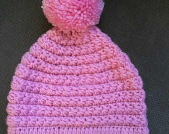 Light Pink Winter Hat with Pom-Pom