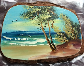 Lot of 29 Hand Painted Mural Ocean Beach Scenes Painted on Tree Bark