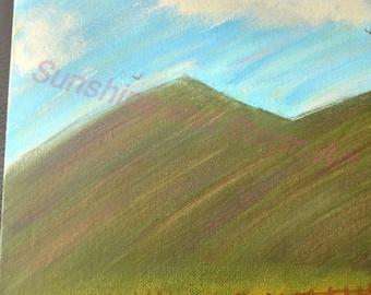 Horse Pasture at mountain base. Acrylic painting. Canvas art. Handpainted. Custom. Original.