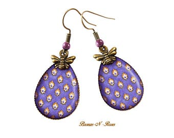 Small flowers of Provence violet pattern Provence jewelry glass drop earrings
